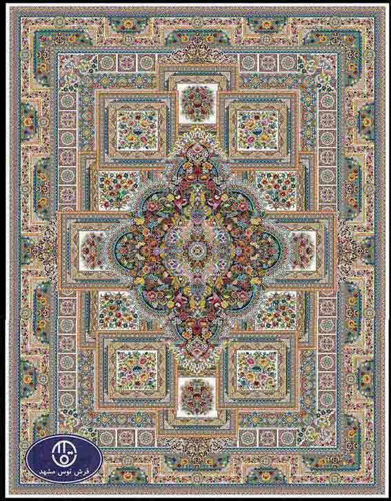 فرش ماشینی 1200 شانه طرح ماهور کد 5032,کرم,توس مشهد