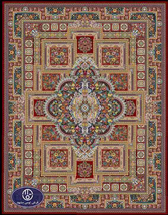 فرش ماشینی 1200 شانه طرح ماهور کد 5032,لاکی,توس مشهد