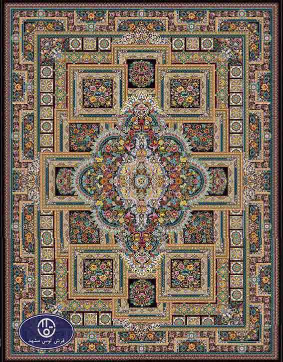 فرش ماشینی 1200 شانه طرح ماهور کد 5032,سورمه ای,توس مشهد