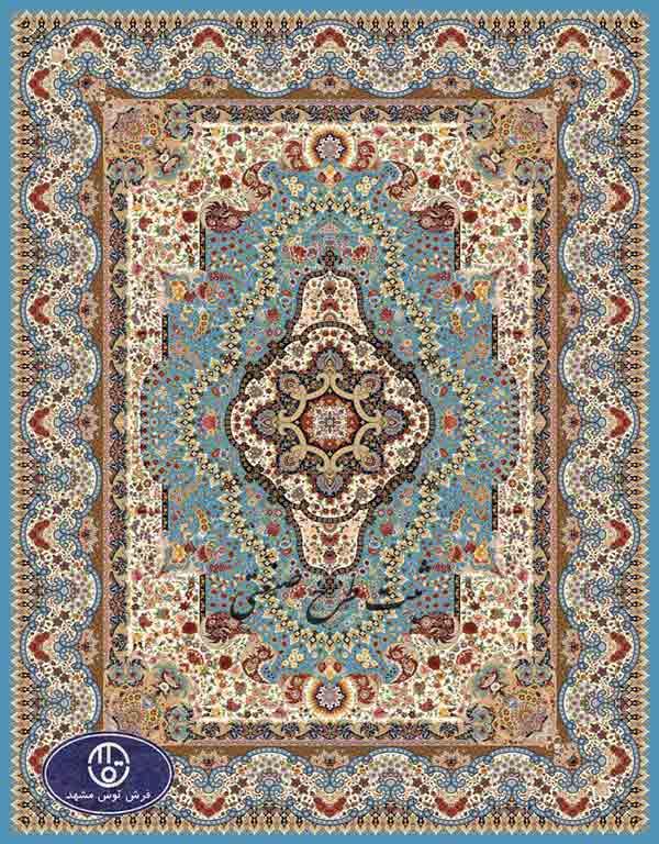 فرش 1000 شانه تراکم 3000 طرح پادشاه توس,توس مشهد,آبی