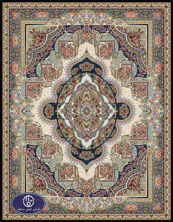 فرش ماشینی هزار شانه طرح پینار ,توس مشهد,سورمه ای01