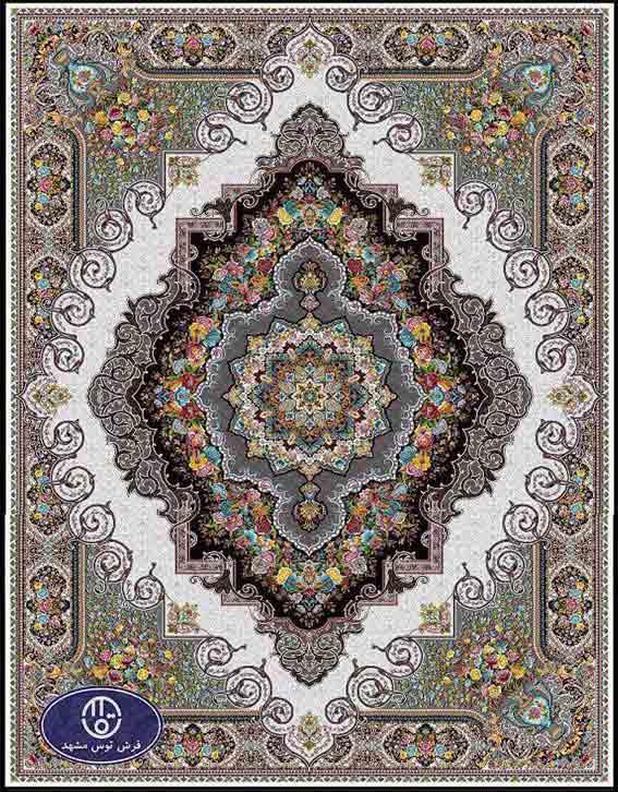 فرش ماشینی 1200 شانه کد 1254,توس مشهد,کرم