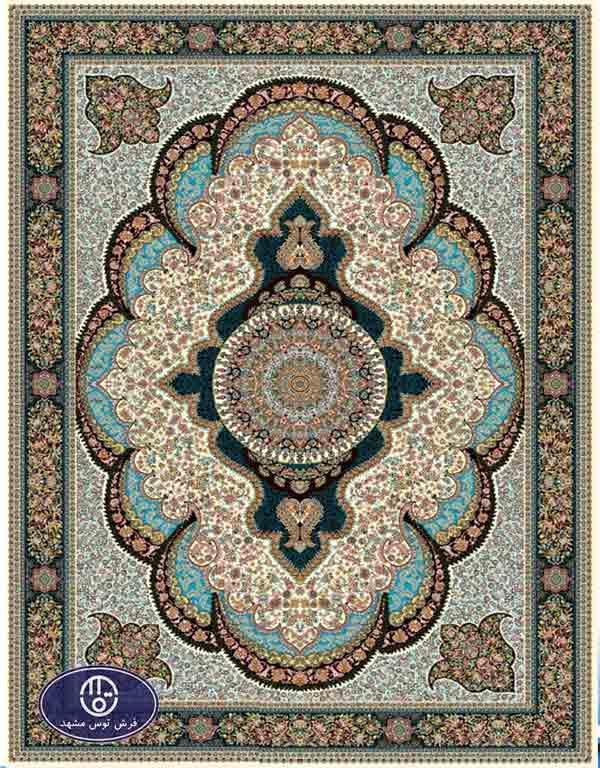 فرش 700 شانه طرح شکوفه کد 7038،توس مشهد،کرم