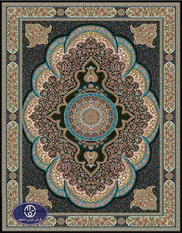 فرش 700 شانه طرح شکوفه کد 7038،توس مشهد،سورمه ای