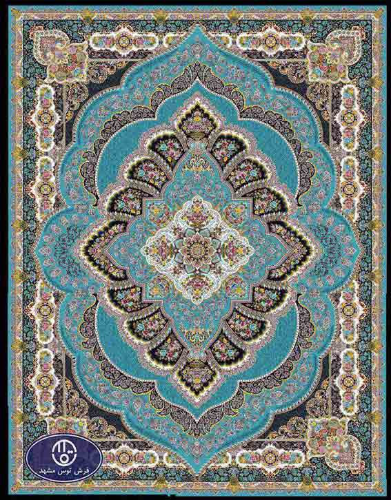 فرش ماشینی 1200 شانه کد 1241,آبی,توس مشهد